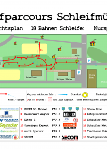 Discgolfparcours Schleifmühlbach Übersichtsplan groß 18 Bahnen Schleife-1