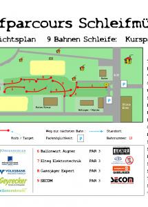 Discgolfparcours Schleifmühlbach Übersichtsplan groß 9 Bahnen Schleife-1